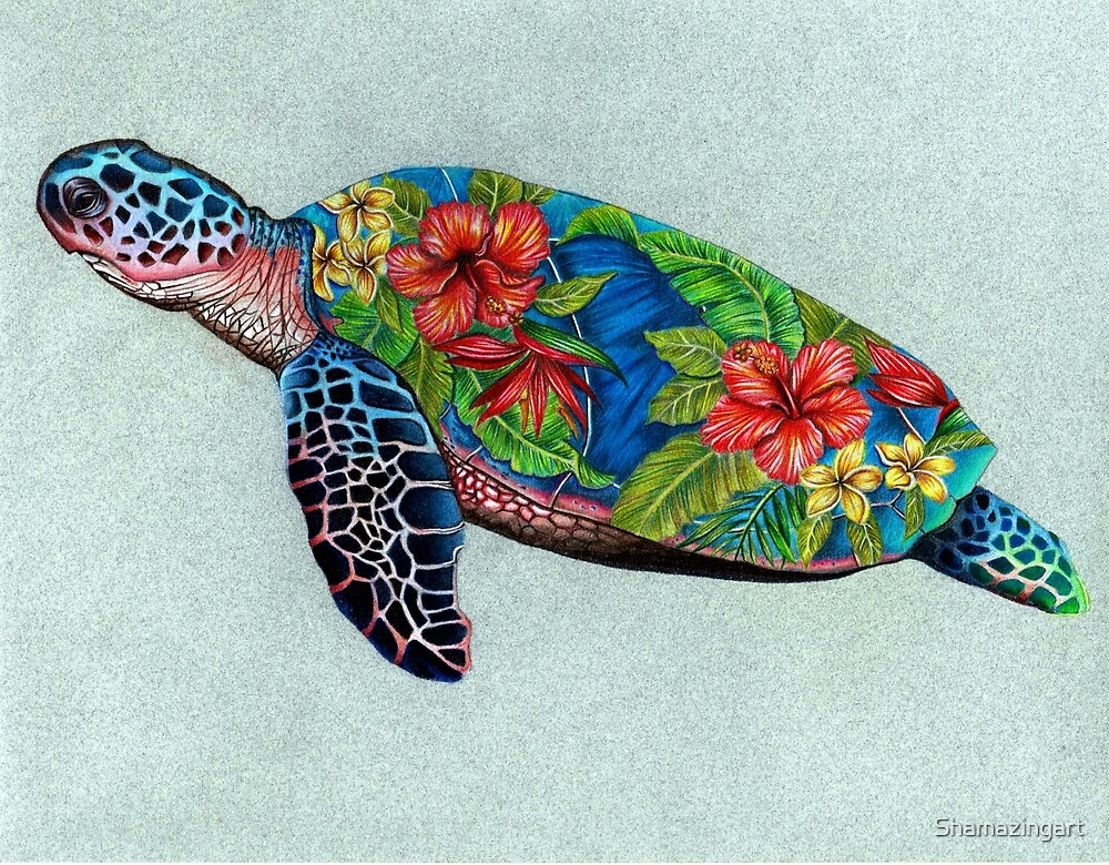 Sea Turtle with Hibiscus Shell by Shamazingart