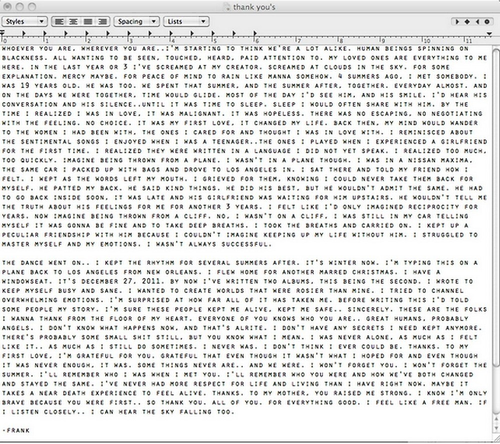 frank ocean letter by Nick Conias
