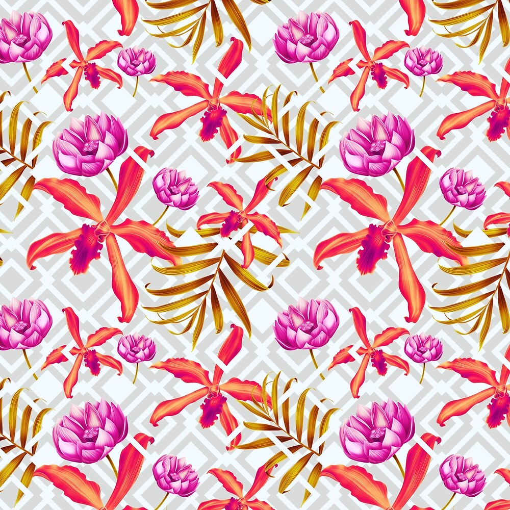 Bold & Bright Colored Tropical Flowers on Silver Trellis by Elaine Plesser