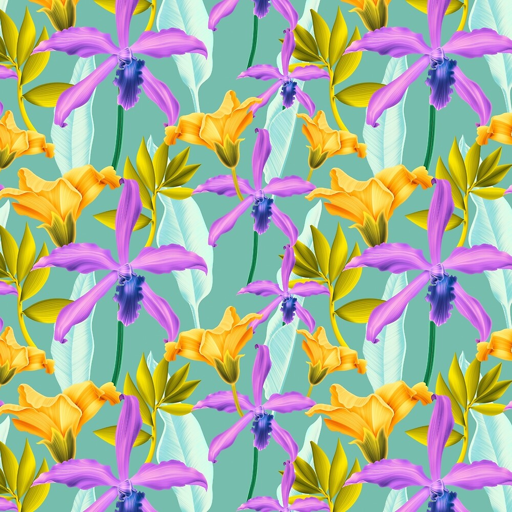 Bold & Bright Tropical Colored Purple Orchids and Yellow Lilies by Elaine Plesser