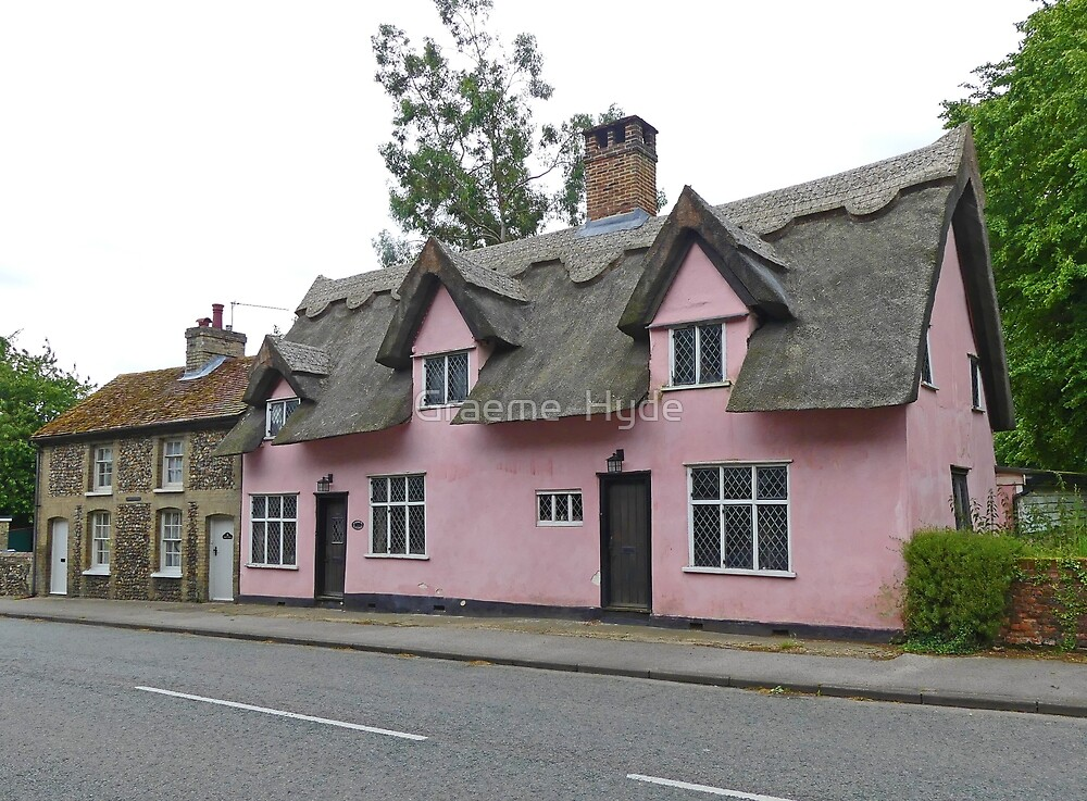 Pink Thatched House by Graeme  Hyde