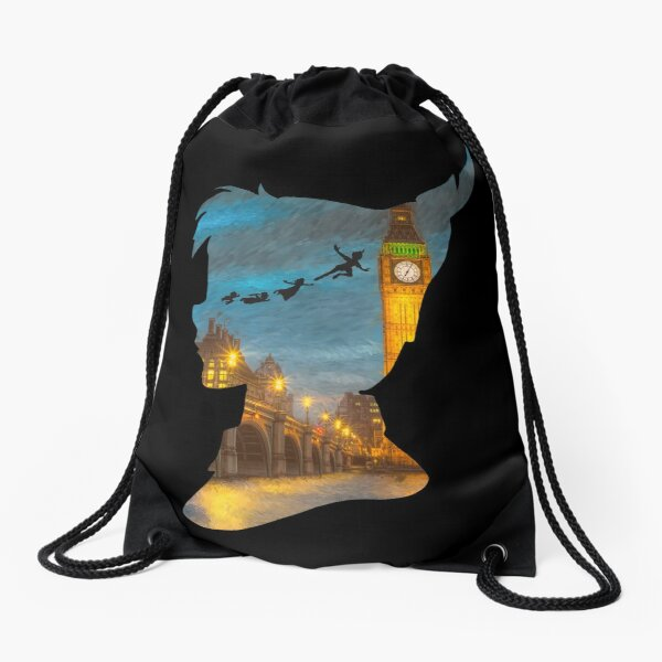 Peter Pan Over London  Drawstring Bag