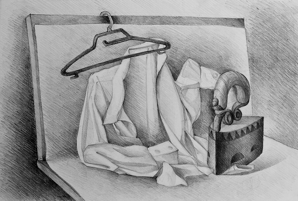 Drawing illustration of still life with shirt and iron by oanaunciuleanu