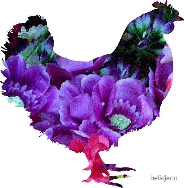 Flowers inside hen by hellajenn