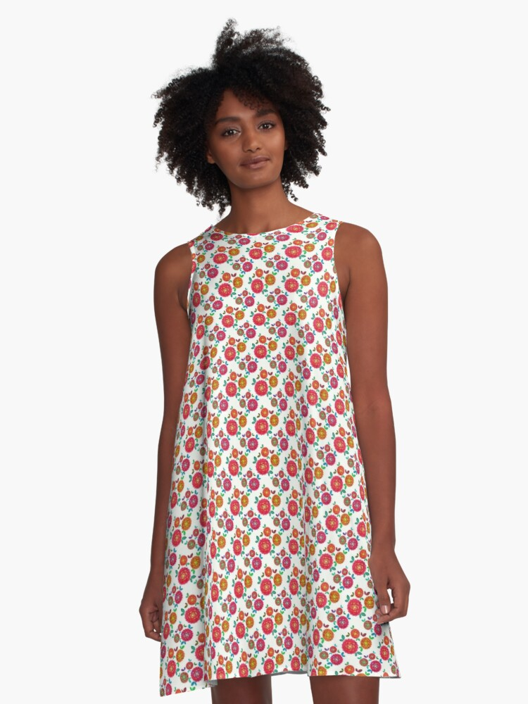 Wild Roses A-Line Dress Front