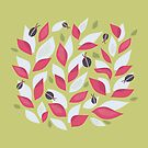 Pretty Plant With White Pink Leaves And Ladybugs by Boriana Giormova
