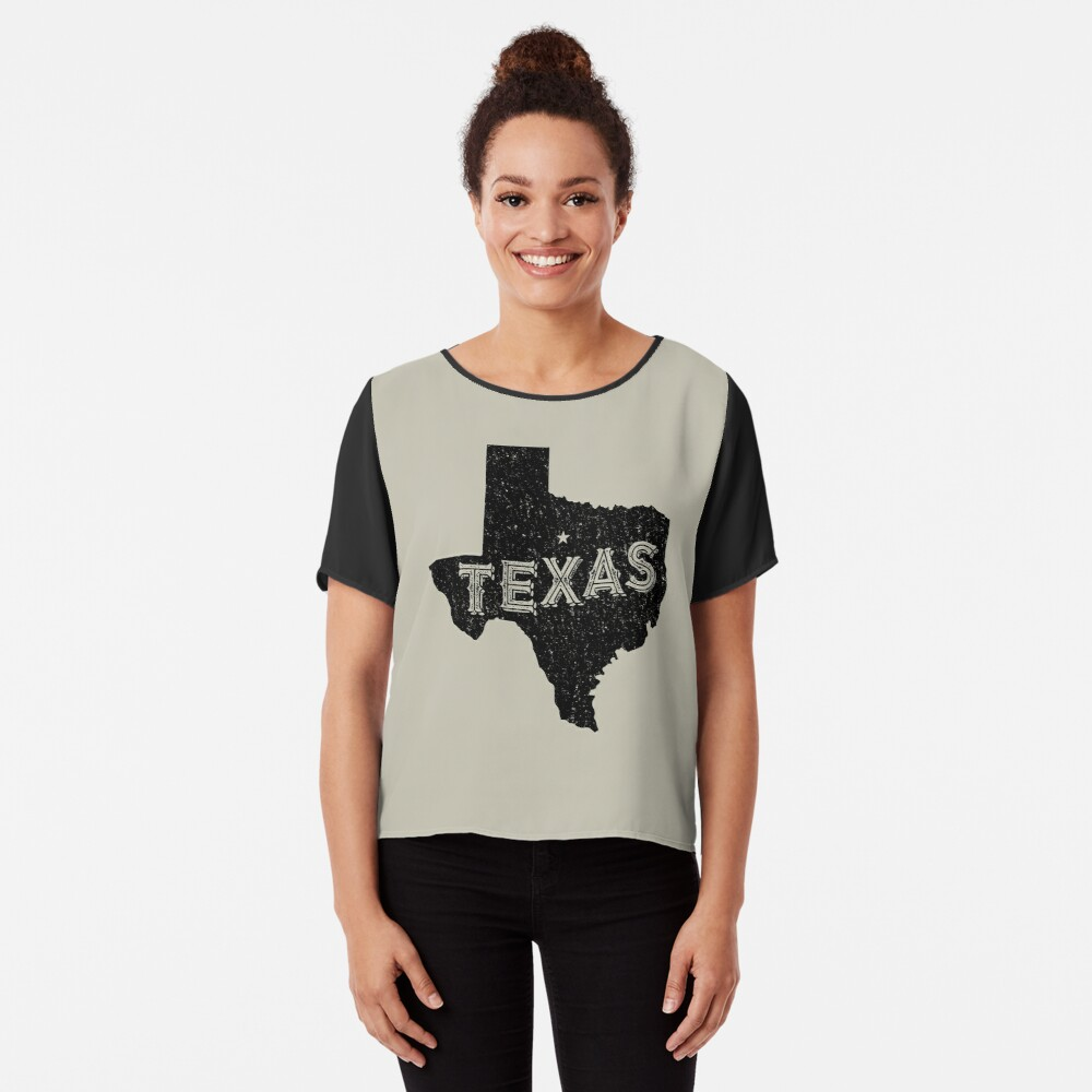 Texas State Shapes - Retro & Vintage Chiffon Top