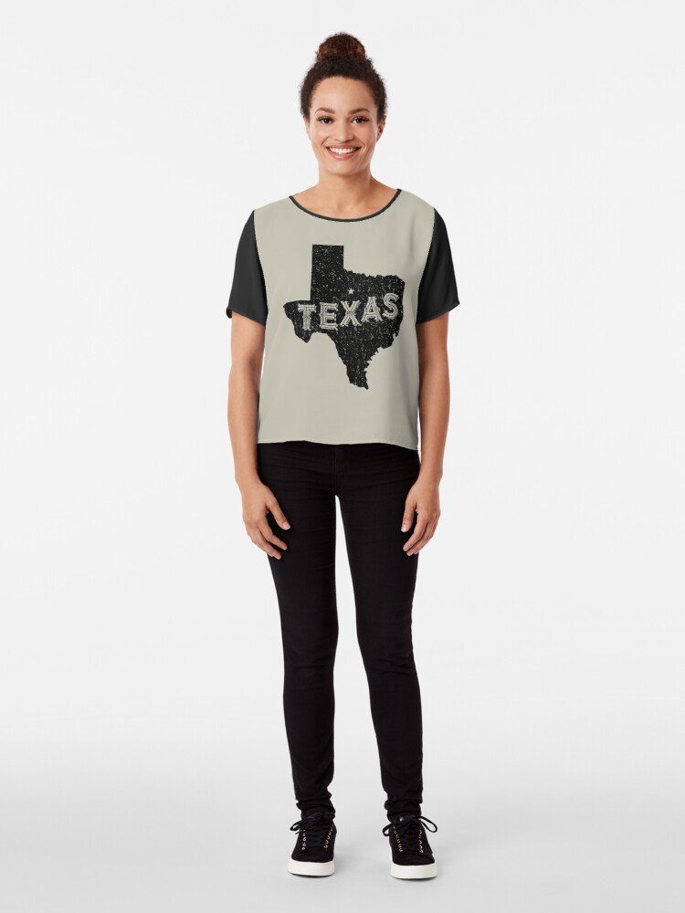 Alternate view of Texas State Shapes - Retro & Vintage Chiffon Top