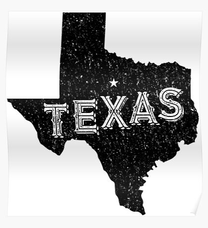 Texas State Shapes - Retro & Vintage Poster