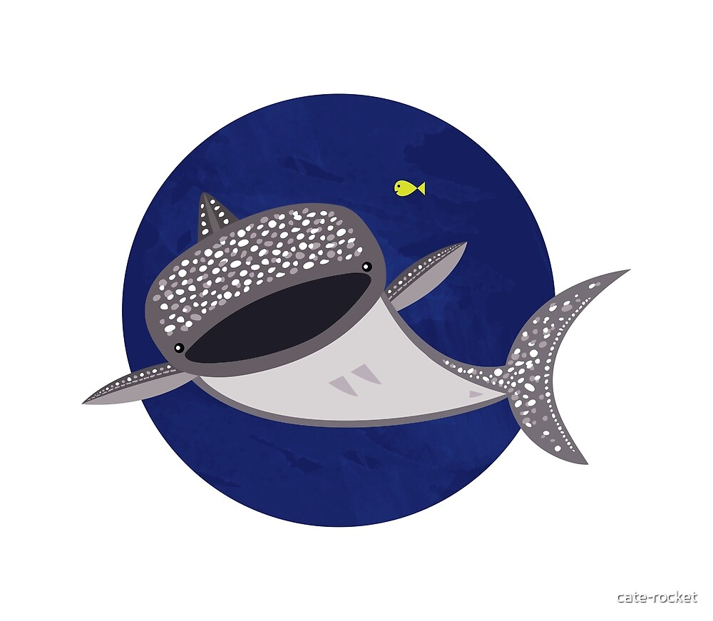 Whale Shark and little friend  by cate-rocket