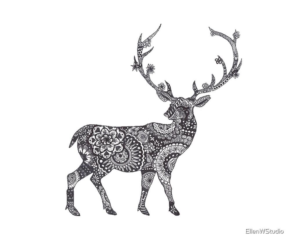 Floral Mandala Deer by EllenWStudio