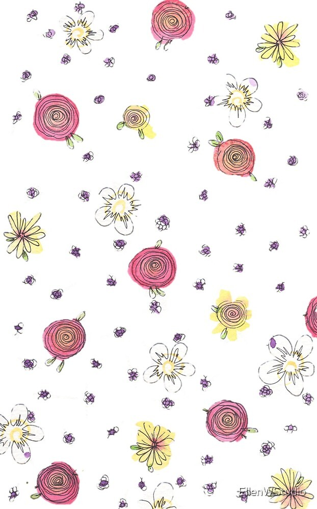 Floral Watercolour Meadow by EllenWStudio