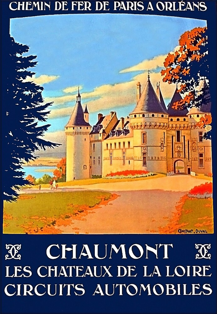 Chateau of the Loire Valley,France, travel poster by AmorOmniaVincit