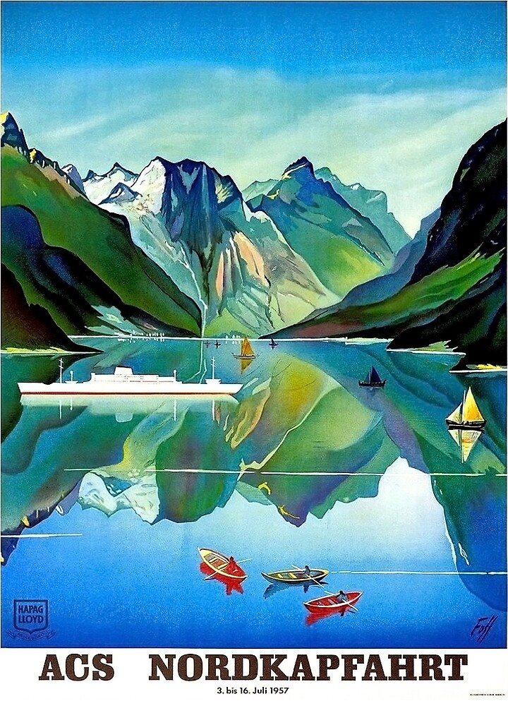 North Kape, Norway, vintage travel poster by AmorOmniaVincit