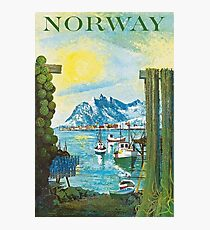 Norway, port, boats, travel poster Photographic Print