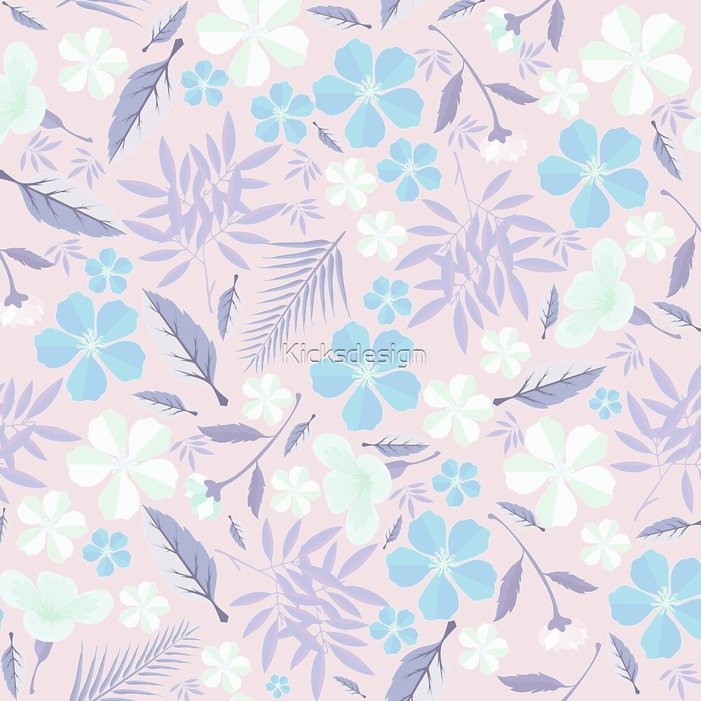 Pastel pink lavender blue purple tropical floral pattern by Maria Fernandes