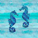 Blue Seahorse Couple Underwater by artsandsoul