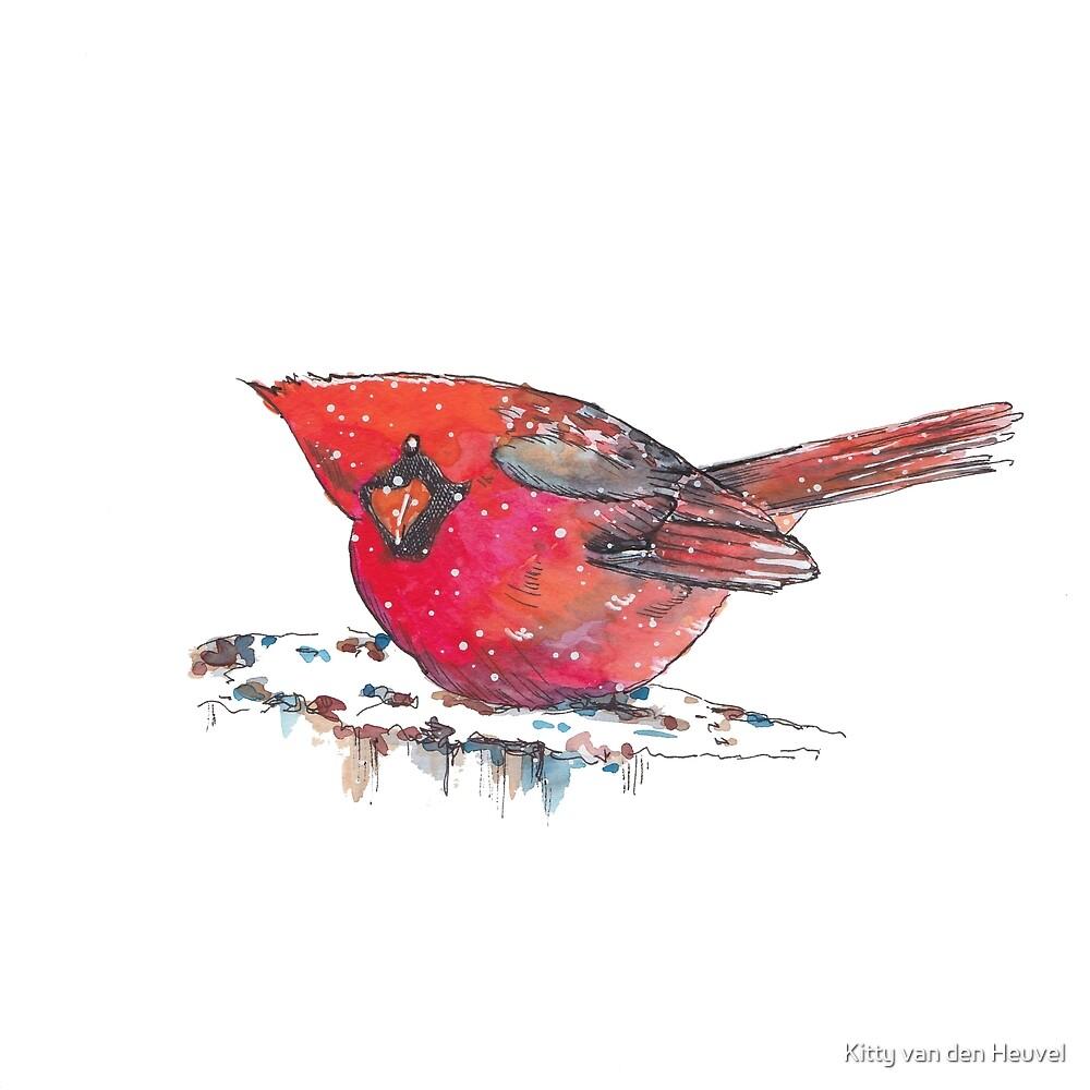 Red Cardinal winter bird Christmas by Kitty van den Heuvel