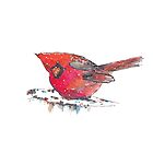 Red Cardinal winter bird Christmas by Kitty van den Heuvel