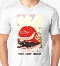Trans Europe Express, railway, train, red, travel poster Unisex T-Shirt