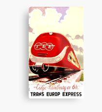 Trans Europe Express, railway, train, red, travel poster Metal Print