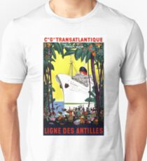 Trans Atlantic French line, cruiser, tourist ship, travel Poster T-Shirt