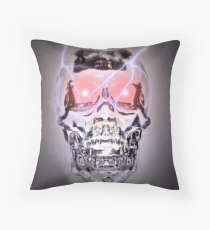 Glass Skull Throw Pillow