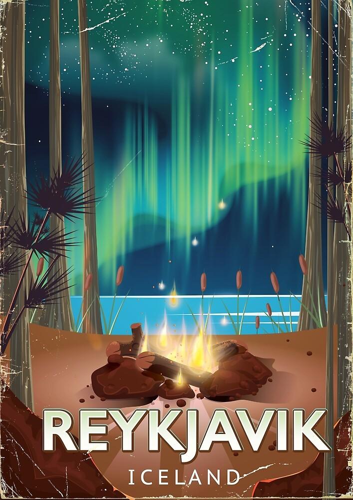 Reykjavik Camping Vintage Travel Poster by vectorwebstore