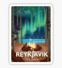 Reykjavik Camping Vintage Travel Poster Sticker