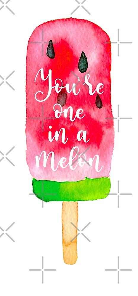 One in a million summer quote on watercolour watermelon ice-cream by natakuprova