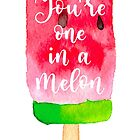 One in a million summer quote on watercolour watermelon ice-cream by natakuprova