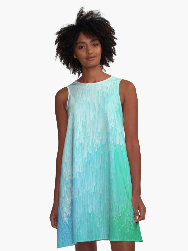 Rainforest - Blue and Green Glitch  A-Line Dress Front