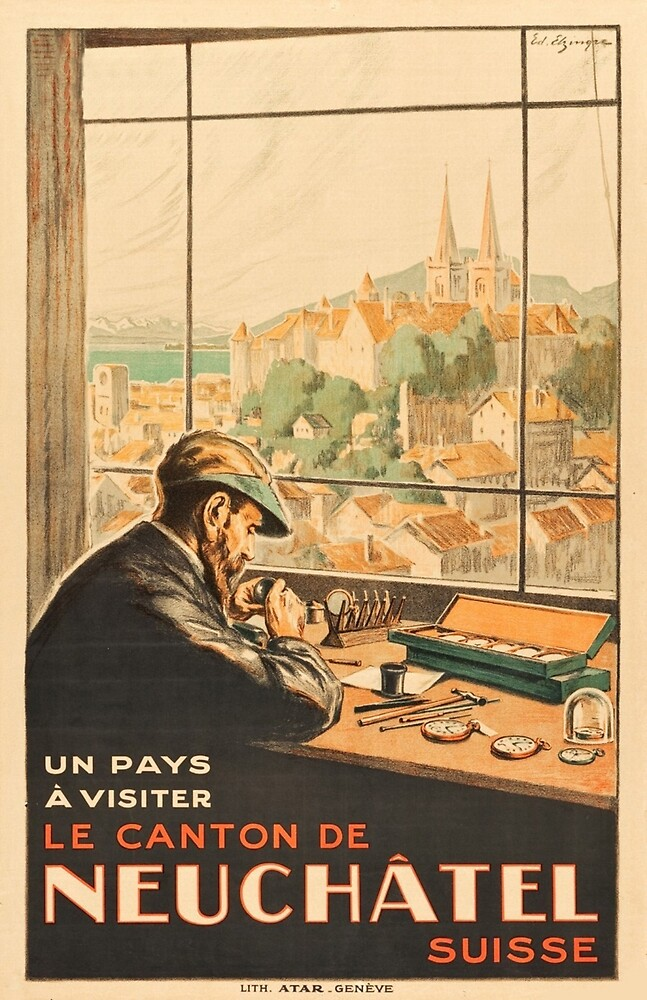 Neuchatel,city, Switzerland, watchmaker, travel poster by AmorOmniaVincit