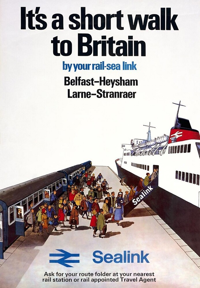 Short walk to Britain, railway, tourist ship, travel poster by AmorOmniaVincit