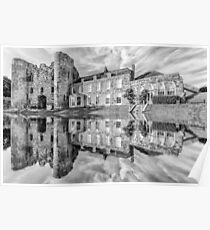 Tonbridge Castle Reflections (black and white) Poster