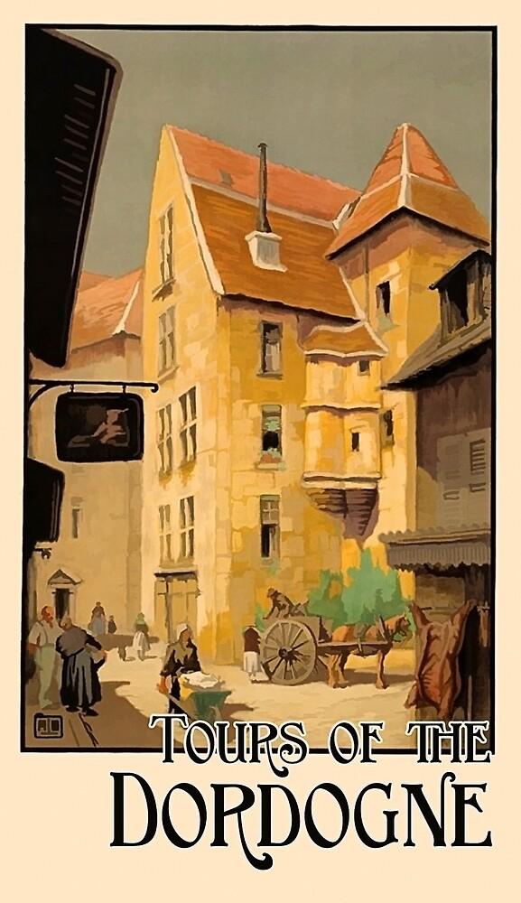 Dordogne, France, French city, tour, travel poster by AmorOmniaVincit