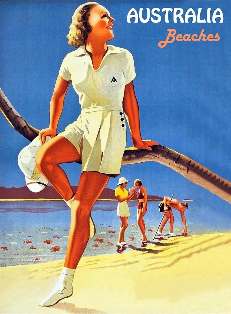 Australia beaches, happy woman, travel poster by AmorOmniaVincit