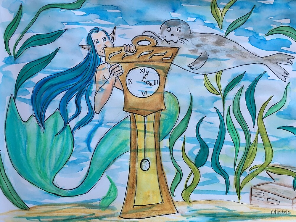 Mermaid with a clock  by Mintdr
