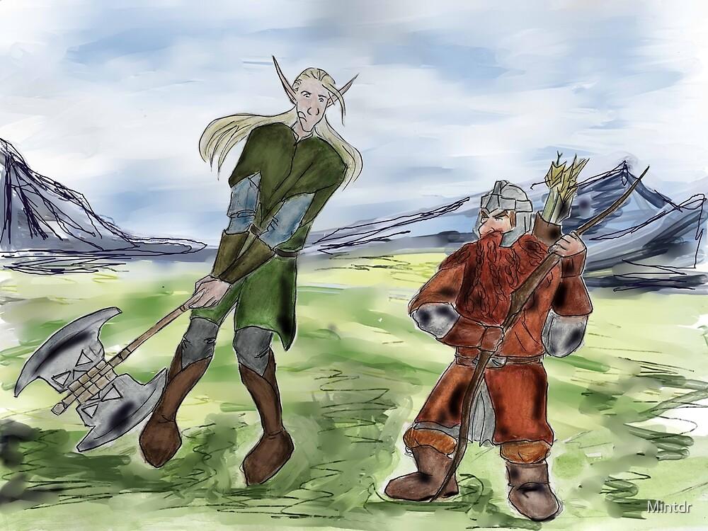 Elf and dwarf  by Mintdr