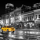 Yellow Taxi Cab on Lower Broadway - Nashville Tennessee by Gregory Ballos