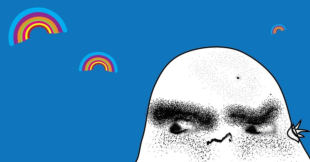 Angry Potato Man Growling at Rainbows by nischnasch