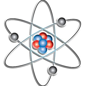ATOM, ATOMIC, Lithium atom, model, SMALL, Physics, Neutrons, Protons, Electrons, Nuclear, Energy, Fission, Fusion, on WHITE  by TOMSREDBUBBLE