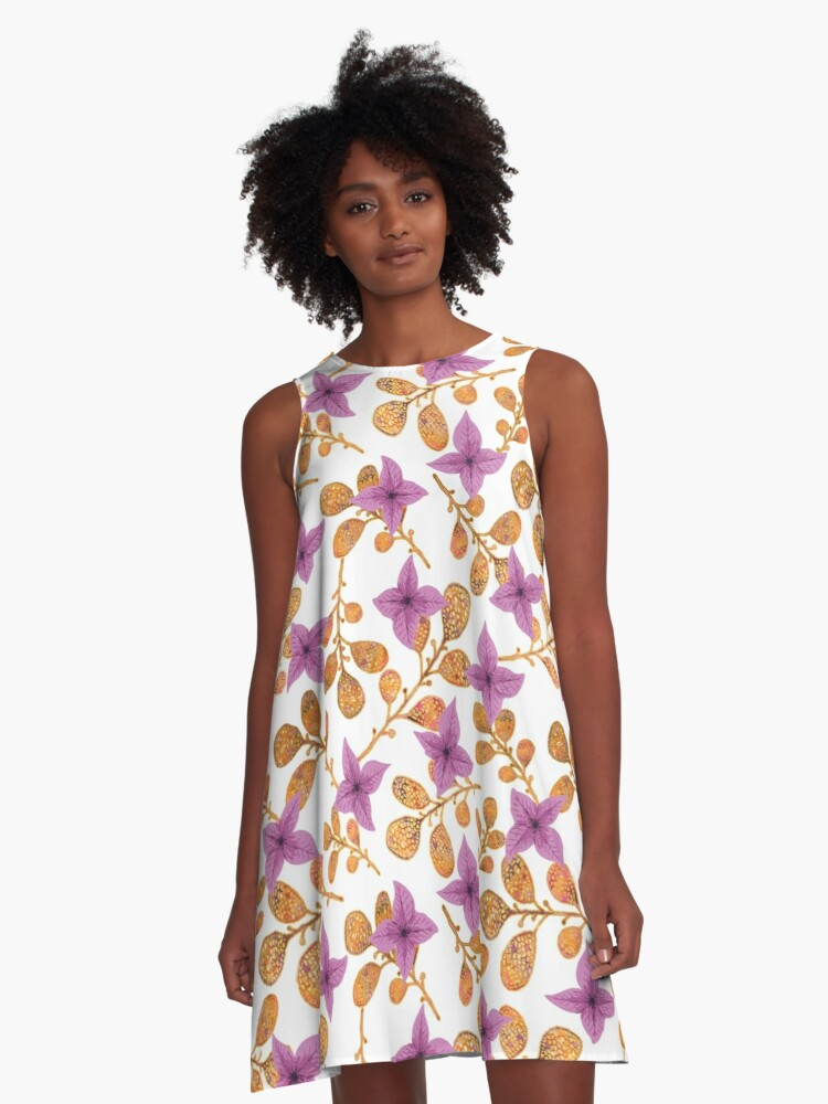 Cute Purple and Gold Floral Print A-Line Dress Front