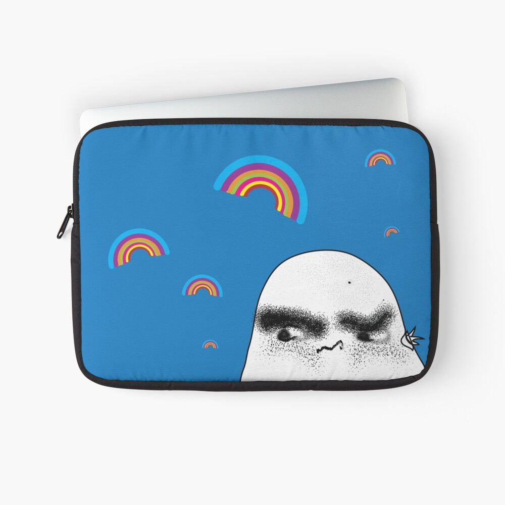 Angry Potato Man Growling at Rainbows Laptop Sleeve