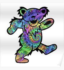 grateful dead psychedelic bear sticker Poster