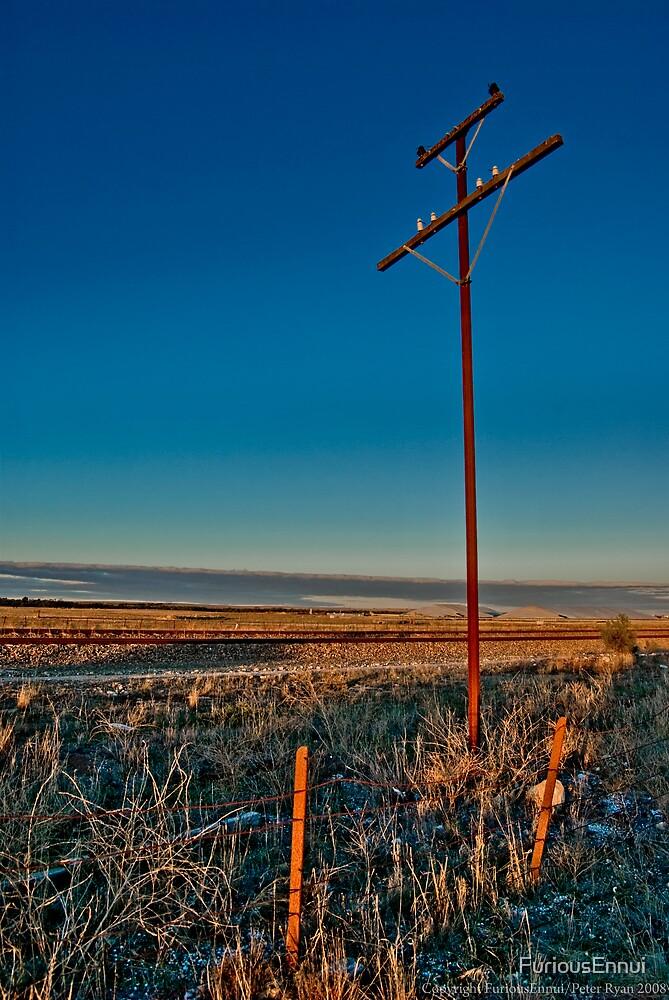 Pole and Railway - Tailem Bend by FuriousEnnui