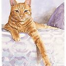 orange tabby cat watercolor by Mike Theuer