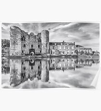 Tonbridge Castle Reflections 2 (black and white) Poster