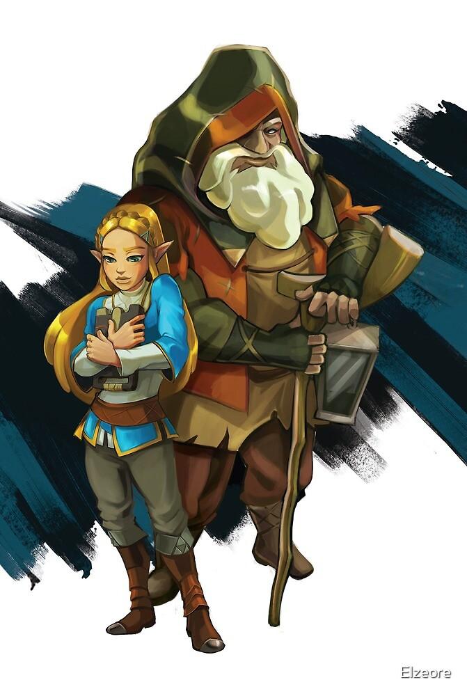 Old man and Zelda by Elzeore