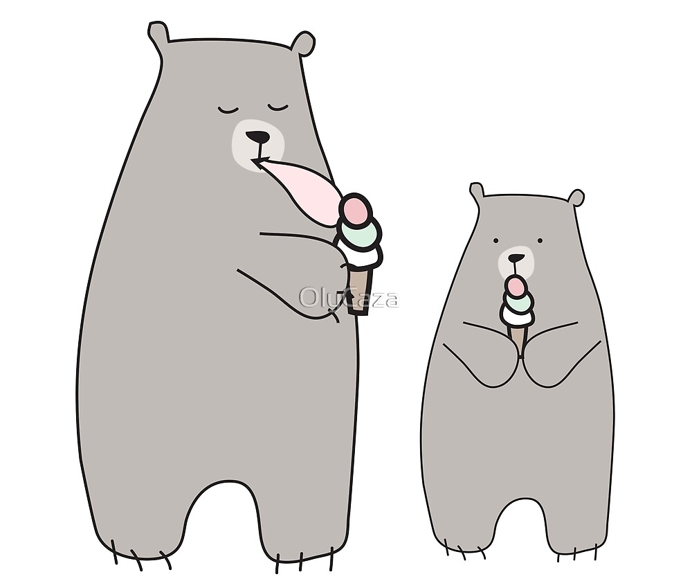 Two bears with ice cream by OlyCaza